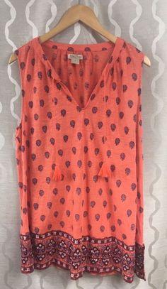 933bccd8078 Lucky Brand Womens Boho Tassels Sleeveless Shirt Printed Tunic Plus Size 1X   LuckyBrand  Sleeveless