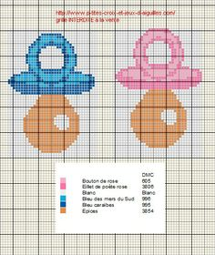 Bébé - baby - tétine - point de croix - cross stitch - Blog : http://broderiemimie44.canalblog.com/