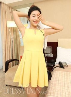 20f76fff02d US 15.99 Classy Korean Style Slim Sleeveless Chiffon V-neckline Day Dress.   Dresses