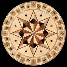 The Marqueteria collection of hardwood floor medallion inlays. Manufactured by Pavex Parquet. Diy Flooring, Wooden Flooring, Hardwood Floors, Islamic Art Pattern, Pattern Art, Parquetry Floor, Wooden Roses, Woodworking Inspiration, Clay Tiles