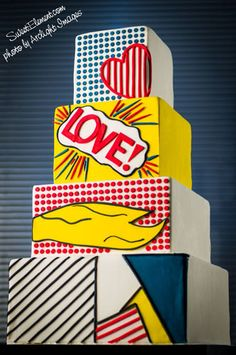 Lichtenstein Inspired Wedding Cake by Sweet Element cakes (!!!)---Tons of fun!