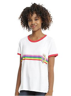 """<div>(Grandpa voice) This shirt is mathematical!</div><div><br></div><div>White and red ringer tee from <i>Adventure Time</i> with a rainbow stripe across the chest and an image of Lady Rainicorn.</div><div><ul><li style=""""list-style-position: inside !important; list-style-type: disc !important"""">100% cotton</li><li style=""""list-style-position: inside !important; list-style-type: disc !important"""">Wash cold; dry low</li><li style=""""list-style-position: inside !important; list-style-type: di..."""