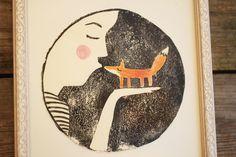 Linoldruck Fuchs Frau Kuss // print woman kiss fox by hebbedinge via DaWanda.com