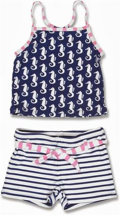 a6a20f740 2 Piece seahorse pattern Girls Tankini by Snapper Rock. Stylish yet  practical swimwear for your beach and cruise vacationion. Sizes 2-12.