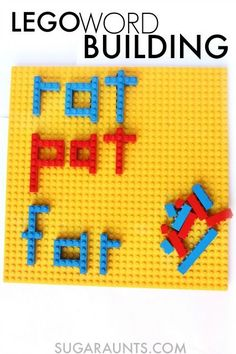 Use LEGO to build words! This is perfect for Kindergarten and early readers who are learning to build words by sounding out and blending letters, and has great fine motor benefits, too. Lego Activities, Kindergarten Activities, Preschool Literacy, Kindergarten Reading, Educational Activities, Preschool At Home, Toddler Preschool, Word Building