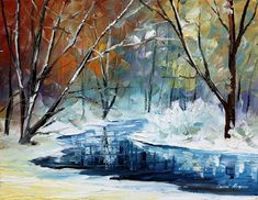"""Lost In Winter — PALETTE KNIFE Landscape Oil Painting On Canvas By Leonid Afremov - Size: 20"""" x 16"""" inches (50 cm x 40 cm)"""