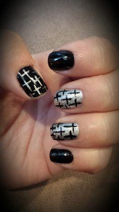 #blackandsilver #naturalnails #cross #nails #nailart
