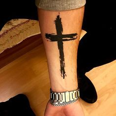 Simple Black Cross Tattoo on Forearm For Men - Best Cross Tattoos For Men: Cool Religious Christian Cross Tattoo Designs and Ideas For Guys #tattoos #tattoosforguys #tattoosformen #tattooideas #tattoodesigns