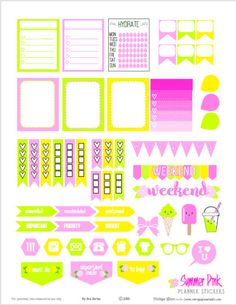 Summer Pink Planner Stickers | Free Printable. For personal use only.