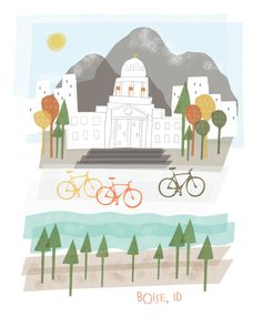 What a sweet picture of Boise! City of trees, and bike town! Did you know, we are such a great town to bike in that Boise State has a special certification for being a bike friendly campus!