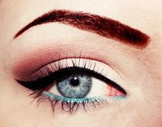 pink shadow, cateye, and teal liner