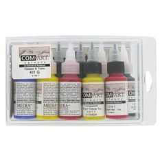 All airbrush colors are not the same. Com-Art is considered to be one of the finest and most versatile professional airbrush colors in the world.   Because of a common hydro-carbon base binder, Com-Art transparent and opaque colors can be used together without bleeding between colors.   This non-toxic, ready to use paint is specifically formulated for use with an airbrush and never needs to be filtered or strained.