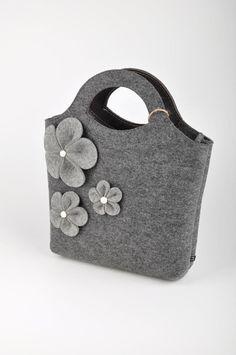 Grey melange Felt Bag Bianca. Original beautiful and by FELTTERRA