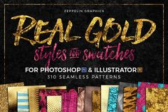 300+ Gold Glitter & Foil Styles by Zeppelin Graphics on @creativemarket
