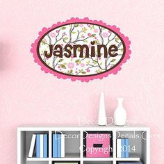 Branches and Flowers Custom Name Printed Fabric Repositionable Wall Decal