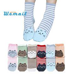 2015 Hot 6Pair/set Female 3D Animals Cat Footprints 6Colors Striped Cartoon Socks Women Cotton Floor length sock for Lady girls