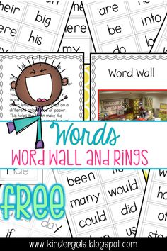 Word wall and rings for Kindergarten!