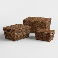 Give entryway or living room clutter a handsome place to call home in our warm& madras basket. Handcrafted of naturally harvested abaca fiber from the Philippines, this tapered trunk features a snug& liftoff lid and cutout handles for easy lifting. Rectangular Baskets, Large Baskets, Rattan Basket, Wicker, Diy Design, Pottery Barn Look, Holiday Baskets, Linen Closet Organization, Guest Room Office