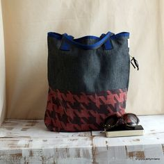 Shopping tote bag handmade with jeans and fabric by enjoyquality, €67.00