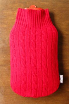 Hot Water Bottle Cosy. Gift for Women. Red Cashmere Warming Bottle Cover. Eco-Friendly Housewarming Gift Idea. Gifts for Mom. Hottie Cover