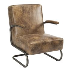 Perth Club Chair Light Brown Top Grain Leather Iron Frame