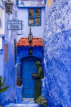 Chefchaouen Visitor by Lindley Johnson
