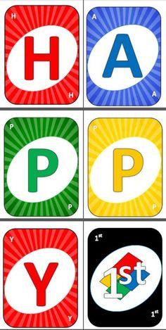 PRINTABLE Uno Card Cards Happy
