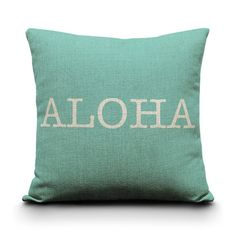 Our Aloha Pillow is perfect for any home decor.    18x18 Burlap style linen pillow cover with bottom hidden zipper.