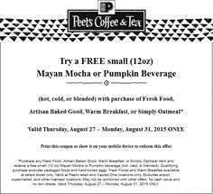 Pinned August 28th: Free pumpkin or mocha drink with your food item at #Peets Coffee & Tea #coupon via The #Coupons App