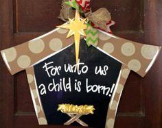 Manger Scene, Christmas Door Hanger, Christmas Wreath