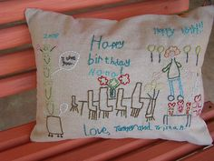 Nana's Embroidered B-Day Card Pillow