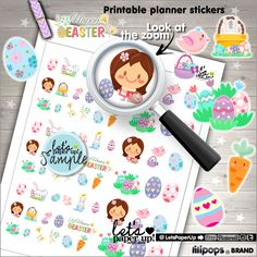 Easter Stickers, Printable Planner Stickers, Spring Stickers, Kawaii Stickers, Erin Condren, Eggs Stickers, Planner Accessories, Rabbit