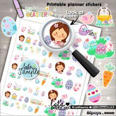 Easter Stickers, Printable Planner Stickers, Spring Stickers, Kawaii Stickers, Erin Condren, Eggs Stickers, Planner Accessories, Rabbit