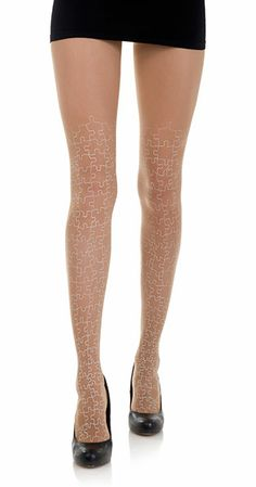 Create a fun & stylish Look with these Full Puzzle Print Sheer Tattoo Tights Body Color & White #TrendyLegs