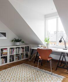desk with a big window