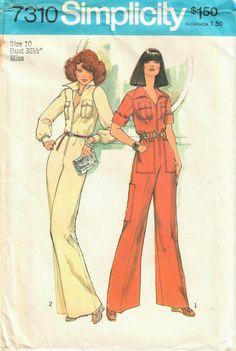Fab jumpsuit in my #etsy shop: 1970s Simplicity 7310 Vintage Sewing Pattern Misses Long Jumpsuit, Cargo Jumpsuit, Bell Bottom Jumpsuit Size 10 Bust 32-1/2 http://etsy.me/2olVBtp #supplies #sewing #missesjumpsuit #jumpsuitpattern #longjumpsuit #70sjumpsuit