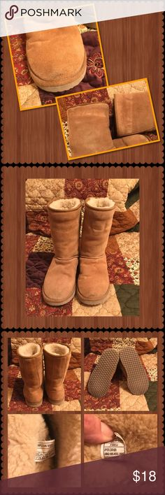 Leather Boots with Wool Lining ❤️ Very comfortable and warm camel/brown leather boots. Lined with wool. Only flaws are pictured in the last frame- small dirt mark on toe and some wear marks on upper top of both boots. Excellent condition. Smoke free home. Shoes Winter & Rain Boots