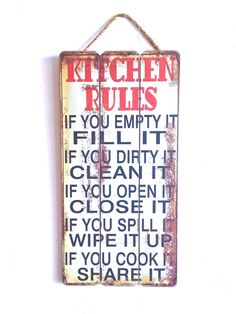 SALE!!! Kitchen Decor, Family Kitchen Rules, Wooden Sign with Quote, Country Kitchen Style, Family Sign, Red, White and Black