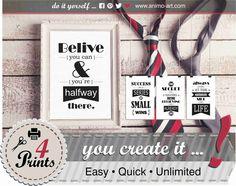 """4 Motivations-Sprüche """"Optimist"""" inkl.Geschenkanhänger, Bilder zum Selbermachen, trendige Prints, Deko Wand, Ideen&Aktionen@Facebook! von animoARTshop auf Etsy"""