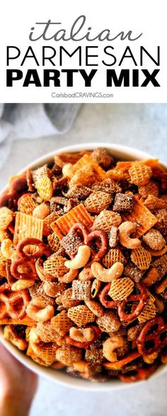 Make ahead crunchy, salty, savory Italian Parmesan Party Mix bursting with Italian flavor in each cashew, pretzel, chex mix bite! This is my go-to party snack that everyone begs me to make! Carlsbad Cravings My Pin For Snack Mix Recipes, Trail Mix Recipes, Appetizer Recipes, Cooking Recipes, Snack Mixes, Party Recipes, Chex Recipes, Recipies, Recipes