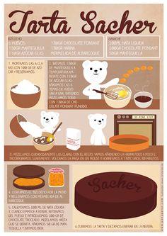 Pan y Peter: Tarta Sacher Bakery Recipes, Dessert Recipes, Cooking Recipes, Cartoon Recipe, Creative Kitchen, Comida Diy, Vitamins For Kids, Drip Cakes, Food Humor