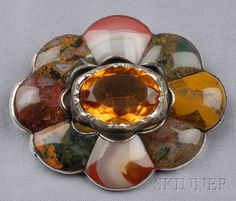 Large Victorian Scottish Agate and Paste Brooch