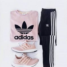 pink adidas sweatshirt and sneakers with black joggers. Visit Daily Dress Me at … pink adidas sweatshirt and sneakers with. Teenage Outfits, Teen Fashion Outfits, Mode Outfits, Sport Outfits, Summer Outfits, Gym Outfits, Fashion Pants, Sporty Outfits Nike, Fashion Shoes