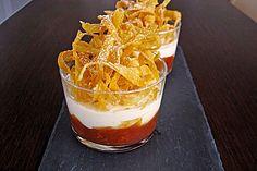 Tonka - Topfen - Mousse auf Blutorangenragout mit frittierten Karamell - Wan Tan (Rezept mit Bild)   Chefkoch.de