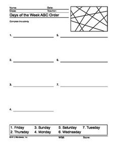 This days of the week printable worksheets bundle includes easy-to-use classroom resources with answer keys. The following printable days of the week word puzzle activities are included with this worksheet bundle:Days of the Week Word ScrambleDays of the Week Word Search PrintableDays of the Week QuestionsDays of the Week Crossword PuzzleDays of the Week Word GraphsDays of the Week Secret CodeDays of the Week Missing ConsonantsDays of the Week Missing VowelsDays of the Week Alphabetical…