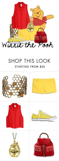 """""""Winnie the Pooh"""" by lambrightness ❤ liked on Polyvore featuring Alexander McQueen, MANGO, Monki, Converse, Disney Couture and Gucci"""