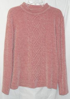 Womans Alfred Dunner L Peach Cable Knit Sweater Large Soft Chenille Alfred Dunner, Cable Knit Sweaters, Sweaters For Women, Crew Neck, Peach, Style Inspiration, Pullover, Knitting, Shopping