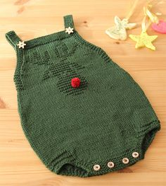 Free Knitting Pattern for Rudolph Baby Onesie - Adorable Christmas romper with r. Free Knitting Pattern for Rudolph Baby Onesie - Adorable Christmas romper with reindeer design in knit and purl stitches. Knitting Patterns Boys, Christmas Knitting Patterns, Knitting For Kids, Free Knitting, Pattern Sewing, Baby Romper Pattern Free, Onesie Pattern, Knitted Baby Clothes, Knitted Romper