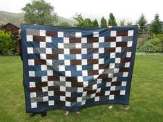 The Manly Man quilt is done! With even a few days left before my son gets home! It's been raining today and I wish the sun was shin. Quilting Projects, Quilting Designs, Sewing Projects, Quilting Ideas, Quilt Design, Cute Quilts, Boy Quilts, Denim Quilts, Quilt In A Day