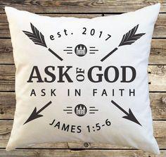 2017 Mutual Theme Pillow James 1:5-6, pillow case, pillowcase, throw pillow cover, pillows, personal progress, scripture, lds